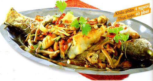 Cá Chẽm nướng tương, nấm